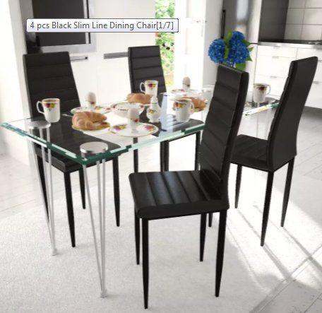 Comfyleads 4 Pcs Black Slim Line Dining Chair Modern Design