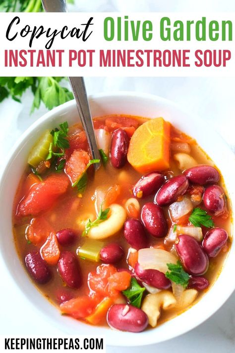 This easy and hearty instant pot minestrone soup is done in under 30 minutes! It's chock full of veggies, whole wheat macaroni, and beans, for a healthy and simple meal that's satisfying and delicious!