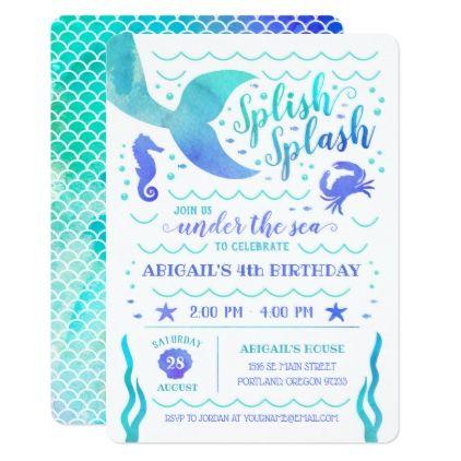 Watercolor Under The Sea Mermaid Birthday Card Birthday Cards Invitations Party Diy P Mermaid Birthday Invitations Mermaid Birthday Birthday Invitations Kids