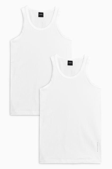 Black Hugo Boss 2-Pack Slim-Fit Men/'s Vests