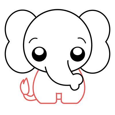 Como Dibujar Un Elefante Kawaii Comodibujar Club Como Dibujar Como Dibujar Elefantes Elefante