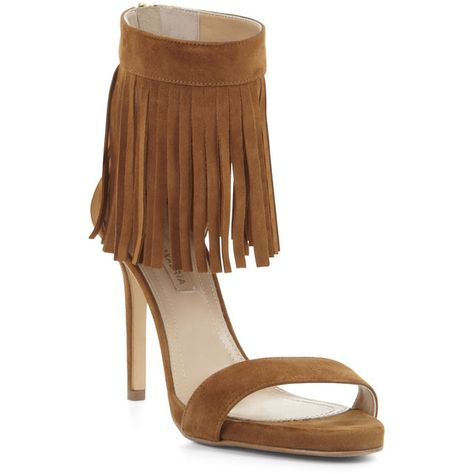bcc944f625dbc BCBGMAXAZRIA High-Heel Suede Fringe Ankle Sandal ( 150) ❤ liked on Polyvore  featuring shoes