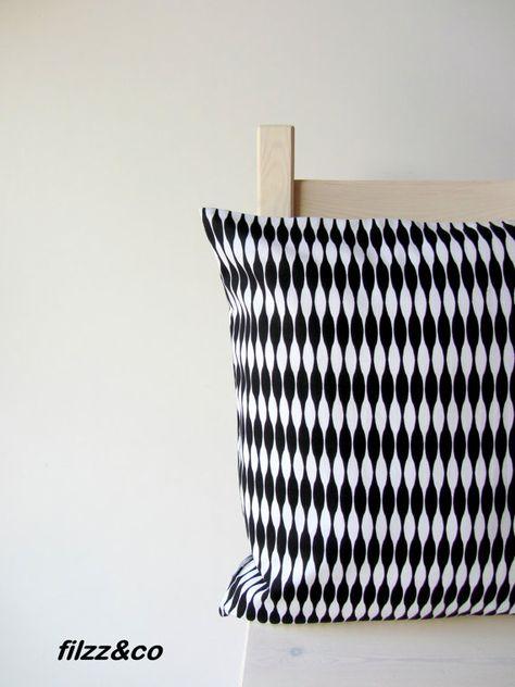 Kissen Kissenbezug Kissenhülle Geometrie Schwarz Weiß 40x40