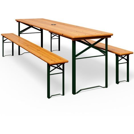 Wooden Folding Trestle Table And Bench Set 180cm Garden Dining Furniture Set With Parasol Hole 3 Pieces 100048 Table And Bench Set Table Bench Set