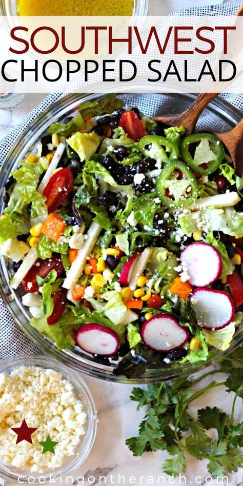 Southwestern Salad Recipe with black beans and corn ... and so much more. A beautiful combination of greens and vegetables with a feisty honey lime vinaigrette. This is a perfect Mexican Side Chopped Salad recipe for any Mexican food entree. #southwestern #saladrecipeseasy #blackbeansalad #blackbeans #mexicansalad #mexicanfood #choppedsalad #mexicanchoppedsalad #healthysaladrecpes