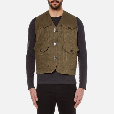 cbd08d3edee7 Get Nigel Cabourn Men s Hybrid Finish Harris Tweed Cameraman Converse Vest  Jacket - Army now at