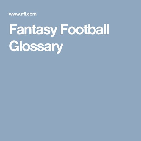 Fantasy Football Glossary