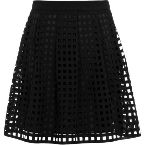 Reiss Kaneo Laser Cut Skirt ($144) ❤ liked on Polyvore featuring skirts, bottoms, saias, black, faldas, reiss, black skirt and laser cut skirt