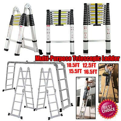 Details About 16 5 10 5 12 5ft Aluminium Ladders Telescoping Multi Purpose Extension Ladder Aluminium Ladder Ladder 10 Things