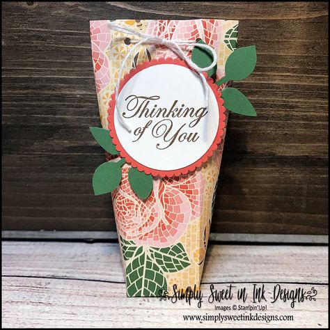Start the week off with a little fun creativity! Check out my blog to learn how to make this easy treat holder using the Mosaic Mood Designer Series Paper (DSP). New in the 2019-20 Stampin' Up! annual catalog!  #makeitmonday #mosaicmood #stampinup #treatholder