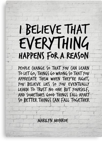 'I believe everything happens for a reason - Marilyn Monroe Quote' Canvas Print by inspirational4u