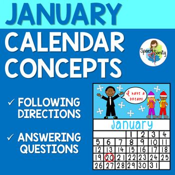 January Calendar Concepts Following Directions Answering Wh