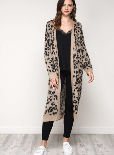 New Womens Mustard Red Black Leopard Print Longline Knitted Long Cardigan Jacket