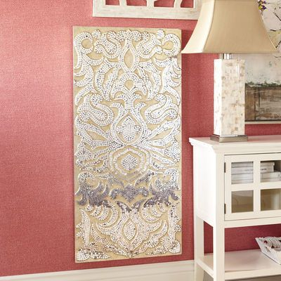 Mirrored Damask Panel - Champagne