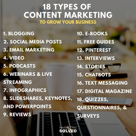 18 Types of Content Marketing You Can Use To Grow Your Business