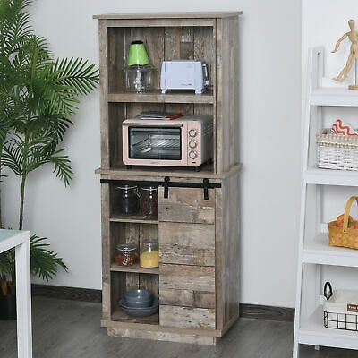Rustic Wood Large Freestanding Cupboard Storage Cabinet With 5 Tier Shelves In 2020 Rustic Storage Cabinets Adjustable Shelving Shelves