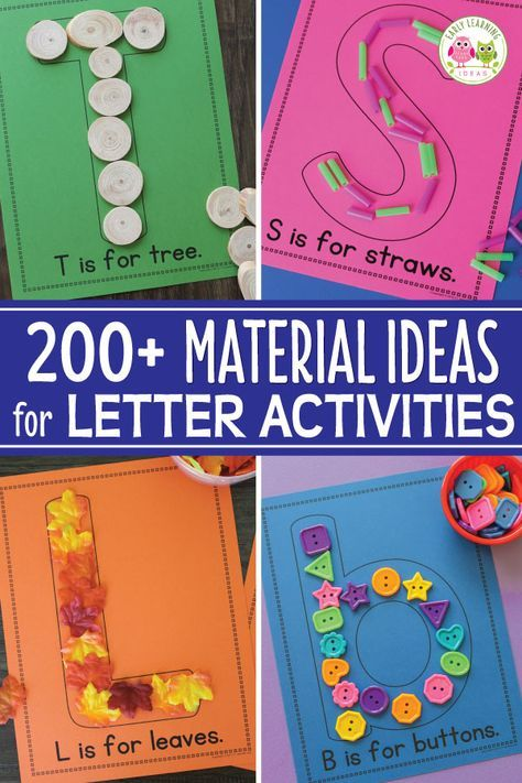 This list will help you sooo much as you plan alphabet activities. Here are over 200 material ideas that you can use for your collages or letter mats. A printable reference list or art and other materials is included. Better than worksheets, these are perfect hands-on activity for your preschool and pre-k classroom or lesson plans. Your young children will love this sensory learning opportunity. #preschool #alphabetactivities #prek