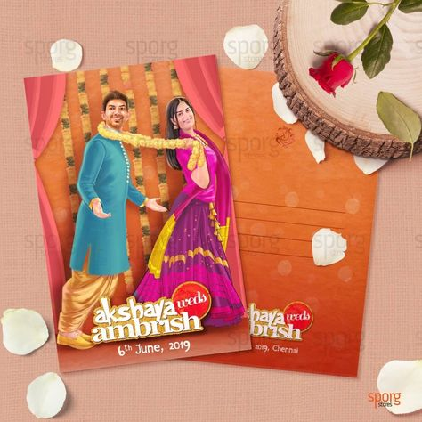 Bollywood Themed Illustrated Wedding Invitation