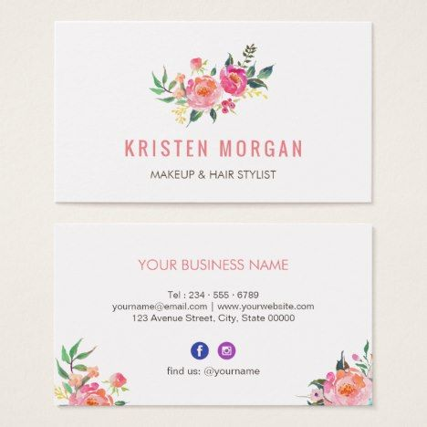 Modern Watercolor Floral Facebook Instagram Icon Business Card Zazzle Com Watercolor Business Cards Printing Business Cards Business Card Design Creative