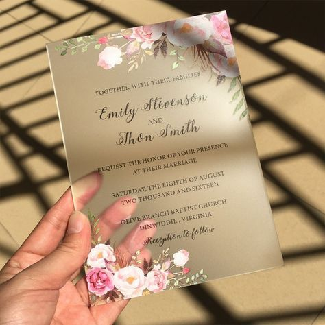 Customized 50pcs Per Lot Rustic Watercolor Style 5x7inch Frosted Acrylic Wedding Invit Acrylic Wedding Invitations Wedding Invitations Boho Wedding Invitations