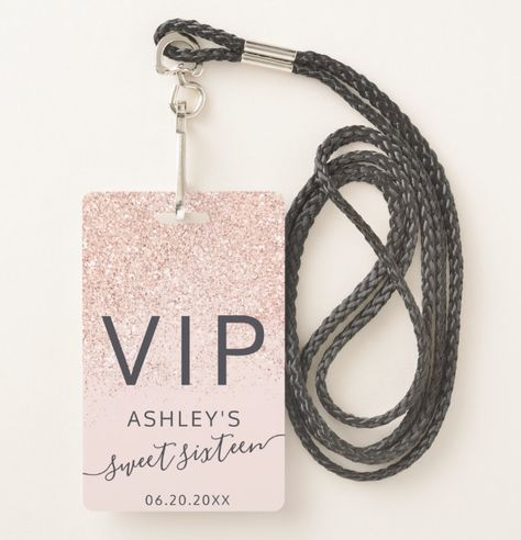 Shop silver glitter ombre typography blush Sweet 16 VIP Badge created by girly_trend. Sweet 16 Party Decorations, Sweet 16 Party Favors, Sweet 16 Centerpieces, Sweet 16 Themes, Sweet 16 Food Ideas, Teen Party Favors, Quince Decorations, Baptism Centerpieces, Wedding Favors