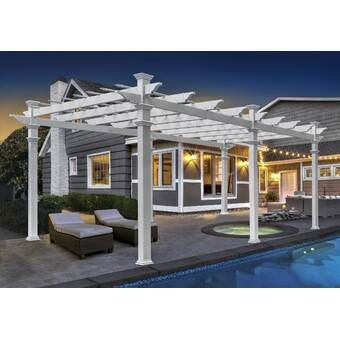 Backyard Discovery Oasis 14 Ft W X 10 Ft D Solid Wood Pergola Reviews Pergula Wayfair In 2020 Vinyl Pergola Wood Pergola Pergola Patio