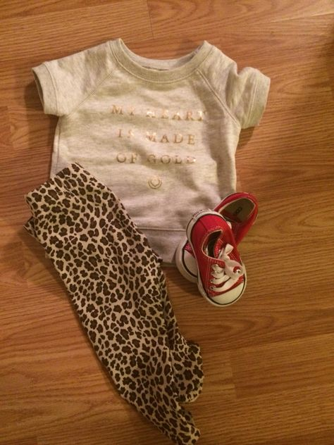 My heart is made of gold set  Carters.com #leopard #redchucks