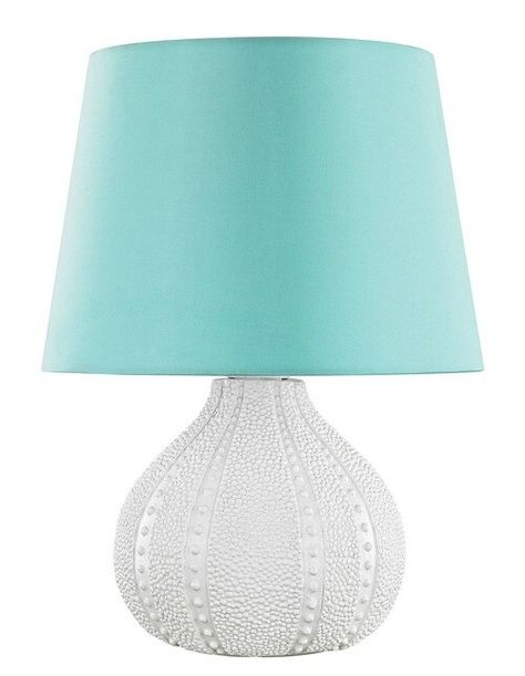 Clear LED Battery Operated Lamp with Aqua Blue Rhinestone and Silver Accents