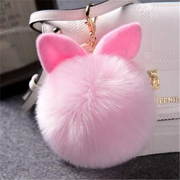 Fur Furry Pom Poms Keychain Dancing Angel Car Key Bag Hangs Pendant Cute Gifts