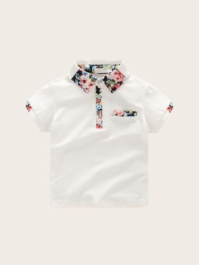 458cf38fc3 Toddler Boys Contrast Floral Print Polo Shirt | Children's Clothes ...
