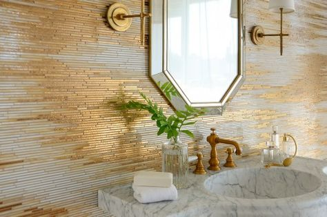 Reve, a handmade mosaic shown in Gold Glass, Agate and Quartz Jewel Glass, is part of the Aurora® collection by Sara Baldwin for New Ravenna.Sink is by Stone Forest. Mosaic Glass, Mosaic Tiles, Tiling, Mosaic Tile Kitchen Backsplash, Ravenna Mosaics, New Ravenna, Mosaic Bathroom, White Bathroom, Bathroom Faucets