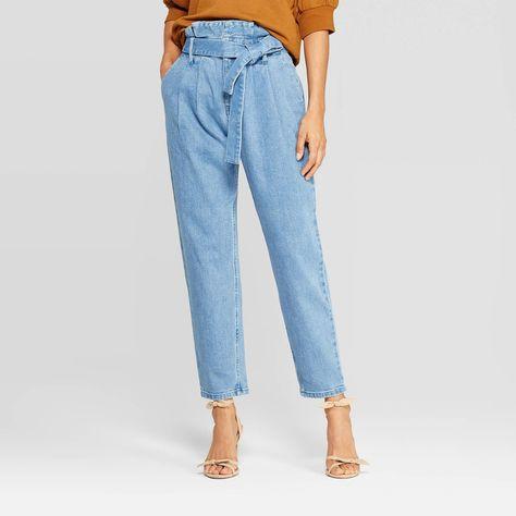 Women's Mid Rise Straight Leg Paperbag Denim Pants Who