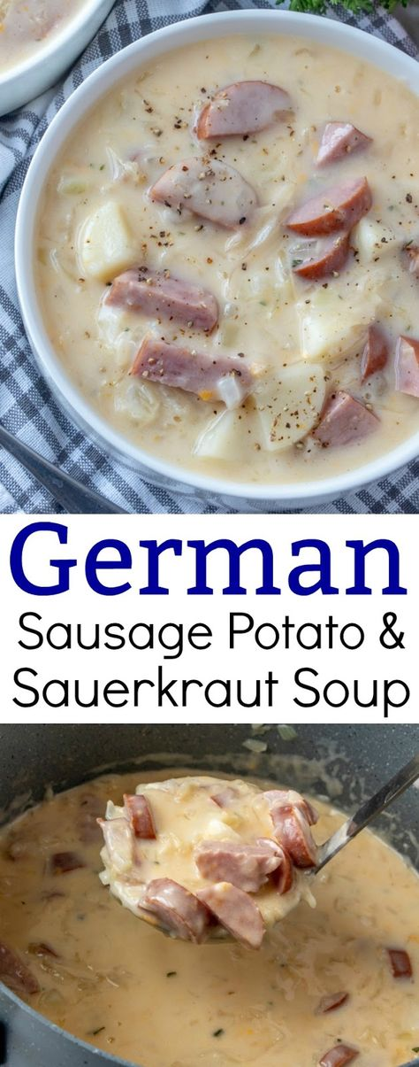 Creamy German Sausage, Potato and Sauerkraut Soup RecipeYou can find German recipes and more on our website.Creamy German Sausage, Potato and Sauerkraut Soup Recipe Easy Soup Recipes, Crockpot Recipes, Cooking Recipes, German Food Recipes, German Recipes Dinner, Keto Recipes, Cooking Ham, Cooking Steak, Sausage Recipes