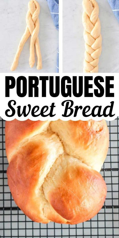 This Portuguese sweet bread recipe is traditionally baked for Easter celebrations. It's sweet and perfect fresh out of the oven with a pat of butter. Portuguese Sweet Bread, Portuguese Recipes, Bakery Recipes, Cooking Recipes, Pastries Recipes, Easy Bread Recipes, Pizza Recipes, Recipes Dinner, Potato Recipes