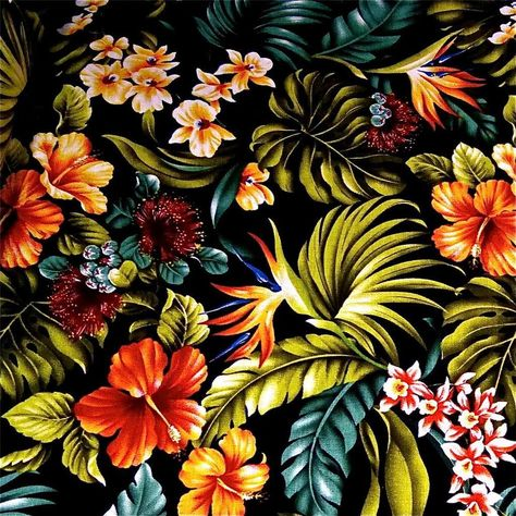 Ivory Kokio Pua in Lengthwise Rows on Black Cotton Fabric BTY Hawaiian Print