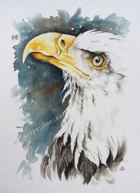 Aigle Aquarelle Peinture D Aigle Animaux Peinture Acrylique Et