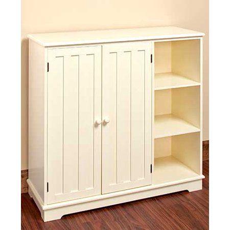 Buy Wooden Multi Use Storage Unit Cabinet Organizer Cream At Walmart Com Freestanding Storage Storage Cabinet Organization