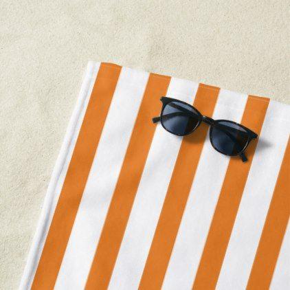 Orange Stripes White Beach Towel Zazzle Com Beach Towel