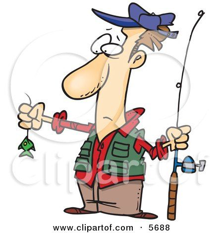 Disappointed Fisherman With A Very Small Fish Clipart Illustration By Toonaday Fish Clipart Funny Paintings Clip Art