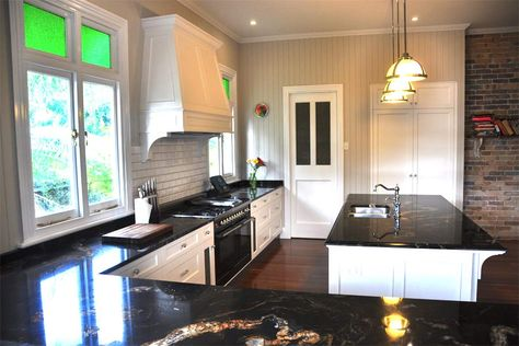 Black Granite And Calcutta Marble Kitchen 30mm Black Forest Gold Granite Kitchen With Pencil Calcutta Marble Kitchen Kitchen Marble Modern Farmhouse Kitchens