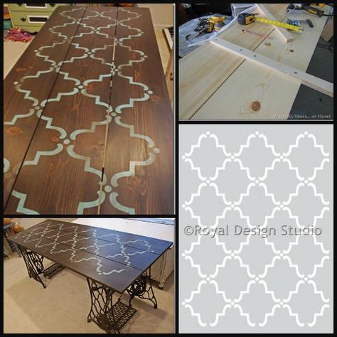 Built from scratch, stained and stenciled, Susan of Uniquely Yours or Mine used our ever-popular Moorish Trellis for a cool tabletop!