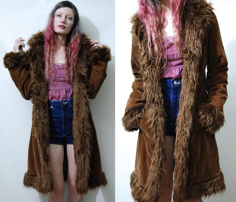 vegan fur coat 90s leopard print jacket fun fur coat Short faux fur jacket goth babydoll riot grrrl grunge winter coat