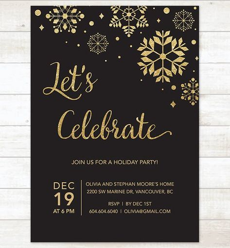 Black Gold Holiday Party Invitation Printable Snowflakes