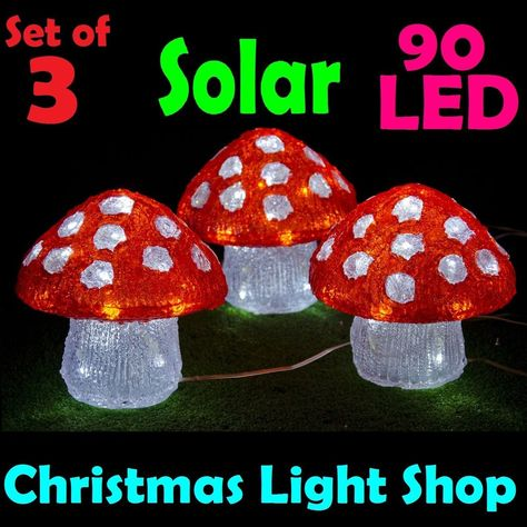3 Solar Led Acrylic Mushrooms Red White Outdoor Christmas Garden Party Lights Solar Christmas Lights Outdoor Christmas Party Lights
