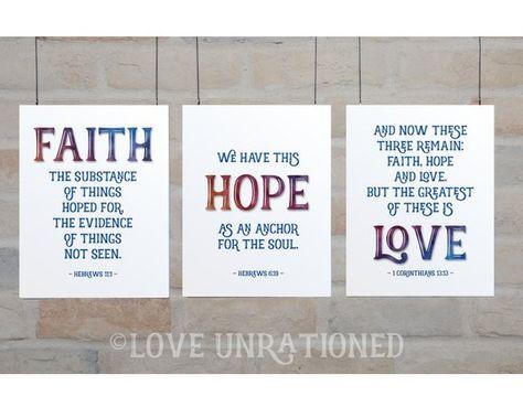 Faith, Hope, Love - Art print, printable download, Hope, Bible Verse