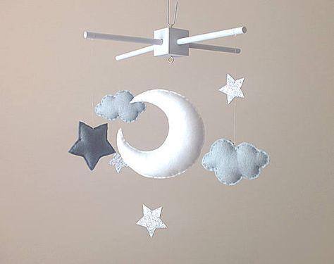 Auf Bestellung Gefertigt Mond Wolken Und Sterne Baby Mobile