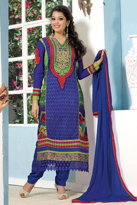 Andaaz Fashion designer collection now presents new collection like Blue Green Georgette Trouser. Embellished with Embroidered,Resham,Stone,Zari and Full Sleeve Kameez, Knee Length Kameez, Low Cut Neck Kameez