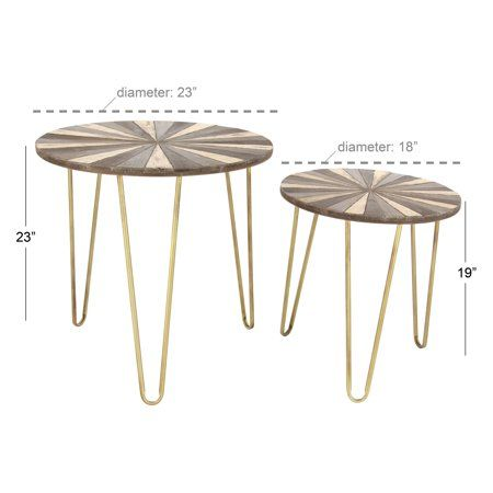 Decmode Set Of 2 Modern 19 And 23 Inch Round Iron And Wood Accent Tables Walmart Com Wood End Tables Accent Table Wood Accents