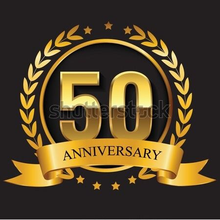 50th Anniversary Golden Logo Emblem Golden Logo Emblem Logo Golden Anniversary