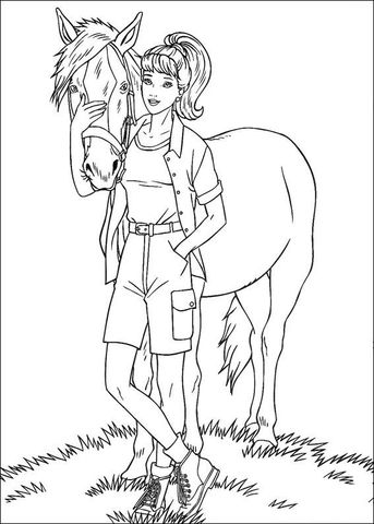 Barbie With A Horse Coloring Page Barbie Coloring Barbie Coloring Pages Horse Coloring Pages